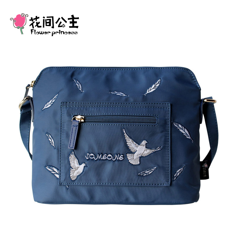 Flower Princess Crossbody Bags for Women Embroidered Nylon Shoulder Bags schouder tassen dames Ladies Messenger bolsos mujer bromen crossbody bags for women leather handbags pvc printing satchels ladies shoulder messenger bag brand design dames tassen