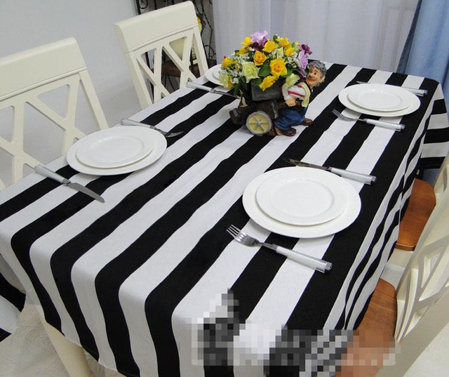 Exceptional Free Shipping Black And White Striped Tablecloth 100% Canvas Kitchen Table  Cloth Rectangular Different Sizes