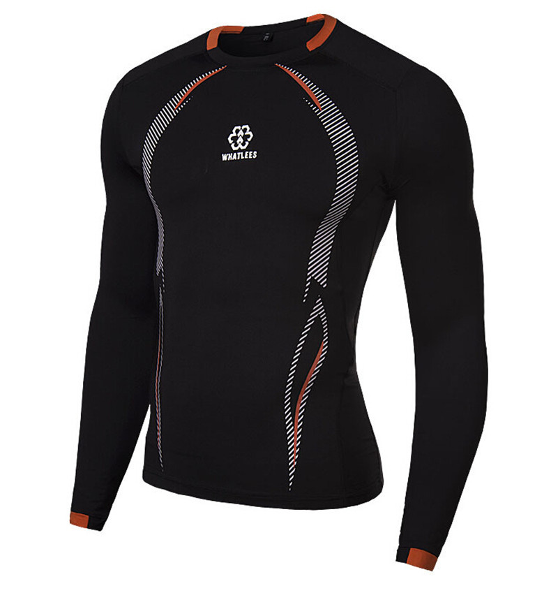 Newest fitness men long sleeve basketball running sports t shirt men thermal muscle bodybuilding gym compression tights shirt