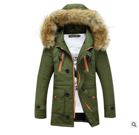 New Arrival Mens Korean Long Section Thick Cotton Padded Jacket Fur Collar Hooded Casual Winter Cotton Jackets Man Coats J1640 ванна акриловая alpen came 175