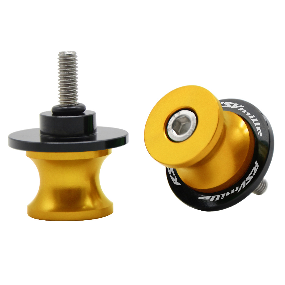 FOR Aprilia RSV MILLE (S/R) 1999 - 2008 Motorcycle CNC AluminumSwingarm Sliders Spools Stand Screws Slider Cover 6mm With logo