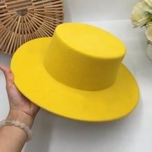 حول شقة الطنف الصوف قبعة عرض الضوء الأبيض الإناث هومبورغ التعاقد مهرج قبعة الليمون أنيقة قبعة فيدوراس بنما