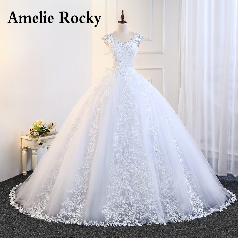 Vestidos De Noiva 2019 Cap Sleeve Big Ball Gown Wedding Dresses Princess Applique Lace Bridal Dress Robes Mariagein From Weddings: Big Wedding Dresses Lace At Reisefeber.org