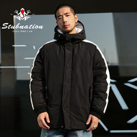 Stubnation Winter Warm White Side Stripe Coats Men Loose Basic Thick Outwear Coats