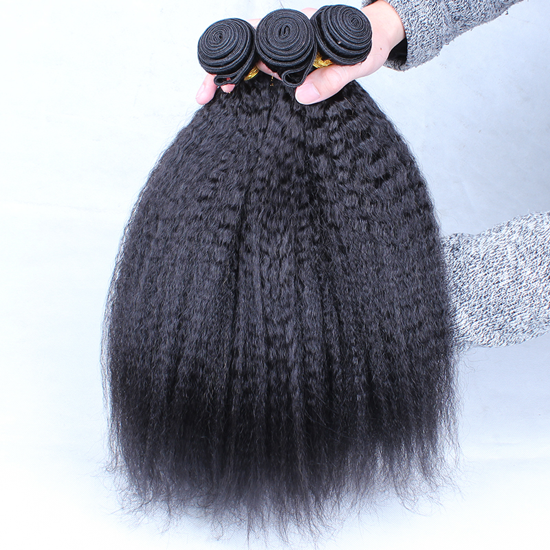 Kinky Straight Hair Brazilian Virgin Hair Weave Bundles Coarse Yaki 100 Human Hair Bundles Ever Beauty