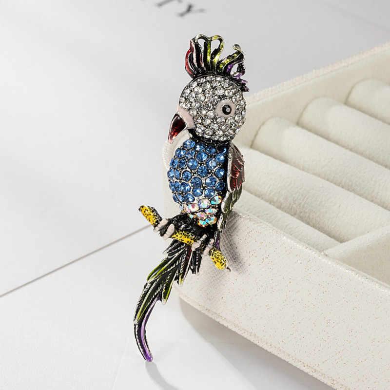 Kreatif Burung Berwarna Kristal Bros untuk Wanita Pakaian Jaket Tas Lencana Kepribadian Hewan Enamel Pin Bros Perhiasan Hadiah