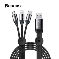 Baseus Magnetic Storage Car Stying 3 in 1 USB Cable for iPhone Charging Cable with Lighting Micro USB Type C Cable for xiaomi|Mobile Phone Cables| |  -