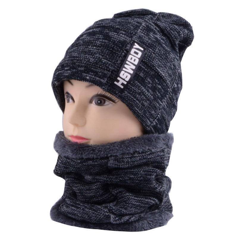 2018 Winter Hat Scarf Set Unisex Mix Color Knit Beanies Velvet Hat Men Cap Women Warm Thicken Hedging Caps Ski Soft Ring Scarf