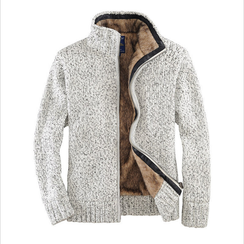 Men Winter And Autumn Thicken Wool Liner Sweater Offwhite Male Cardigan With Zippers Men S Turtleneck