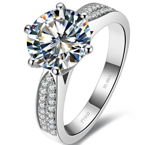 1 carati di Alta Qualità simulare anelli di diamanti anelli d'argento per le Donne anello di fidanzamento per le donne Coprono oro bianco-in Anelli da Gioielli e accessori su  Gruppo 2