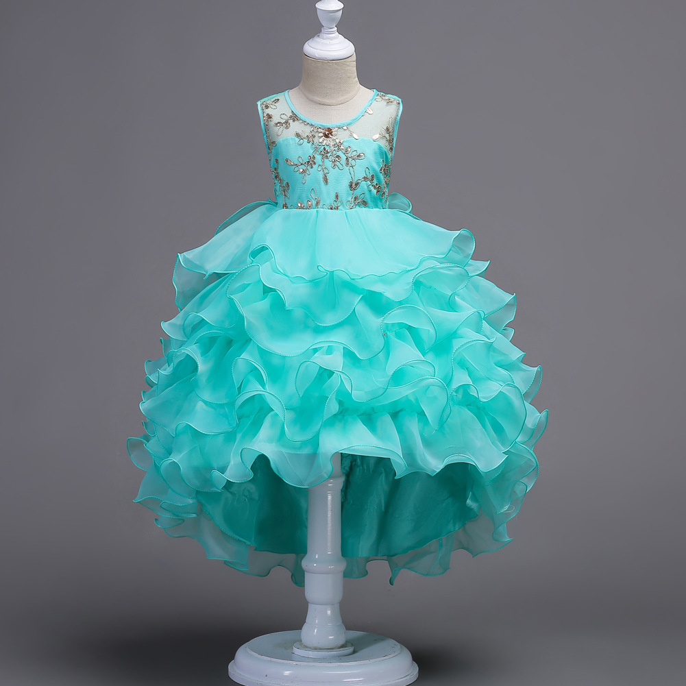 <font><b>Kids</b></font> Layered <font><b>Dress</b></font> Small or Big Girls Princess Prom Gown Tailed <font><b>Dresses</b></font> Ceremonial Robe Party Wedding Dance <font><b>Cocktail</b></font> <font><b>Dresses</b></font> image