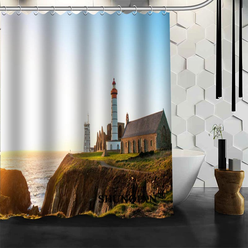 Waterproof Bathroom Curtains Modern Lighthouse Shower Curtain Polyester  Bath Screens Customized Curtain In Shower Curtains From Home U0026 Garden On ...