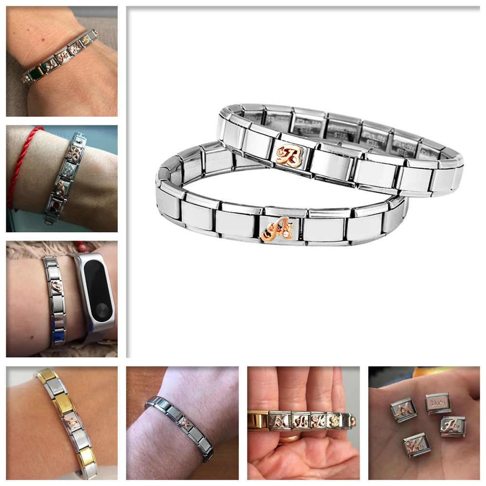 Accesorios 26 letras nombre pulseras de acero inoxidable para mujeres pulsera de plata 2019 nueva moda joya pulsera de corazón al por mayor