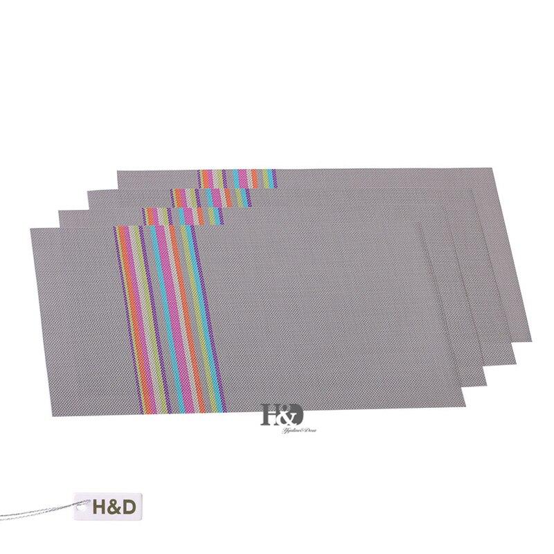 vinyl placemats rainbow easy clean heat resistant tableware kitchen decoration inch set of - Vinyl Placemats
