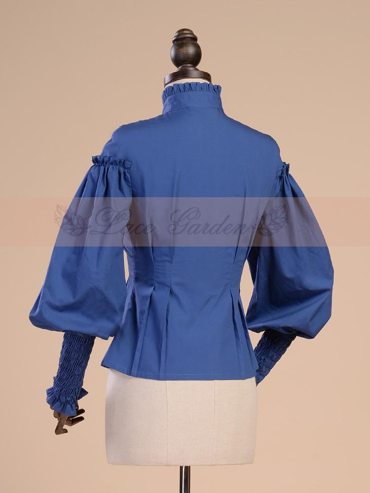 Shirt Di Vittoriane Top Shirt Maniche Blue Lolita Corte Women Camicia Reale Cotone Femmina Splice Lanterna A white Camicetta Vintage Gothic Costume Donne Ufficio fwnqaRw