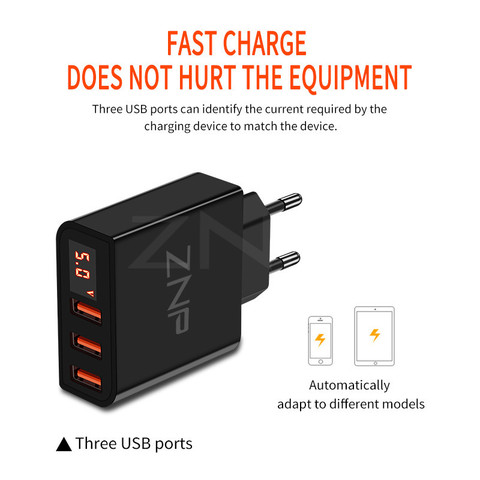 ZNP Universal 15W USB Charger 5V for iPhone XS Max X EU Plug LED Display Mobile Phone Fast Charging for Samsug S10 Xiaomi Huawei Karachi