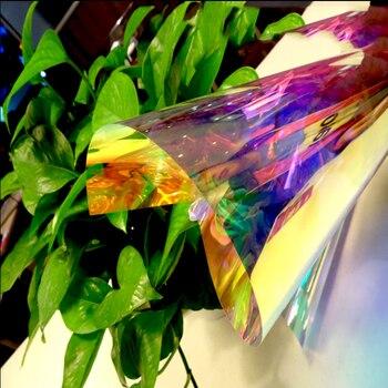 "1x10m/39.37""x33ft Decorative Chameleon Building Window Films Rainbow Effect Privacy Vinyl Office Club Decor"