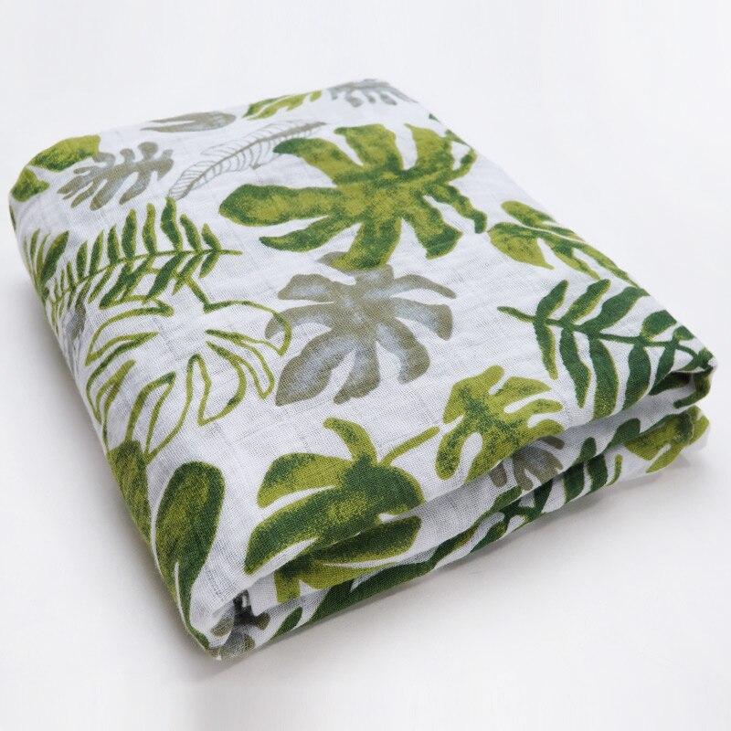 Новинка; хлопковые Супермягкие подгузники из муслина; детское одеяло; Банное полотенце; пеленка; аксессуары для детской кровати; детское одеяло для новорожденных - Цвет: Green leaves