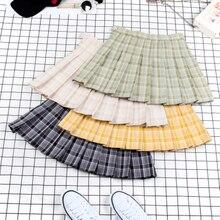 Новинка, теннисная юбка, серия авокадо, клетчатая плиссированная юбка, юбка для колледжа, для тенниса, для бега, бега, спортивной юбки