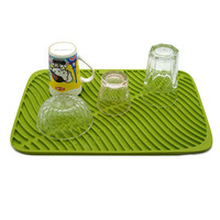 Silicone drain tray non slip placemat tableware silicone cabinet mat glass coaster kitchen tools