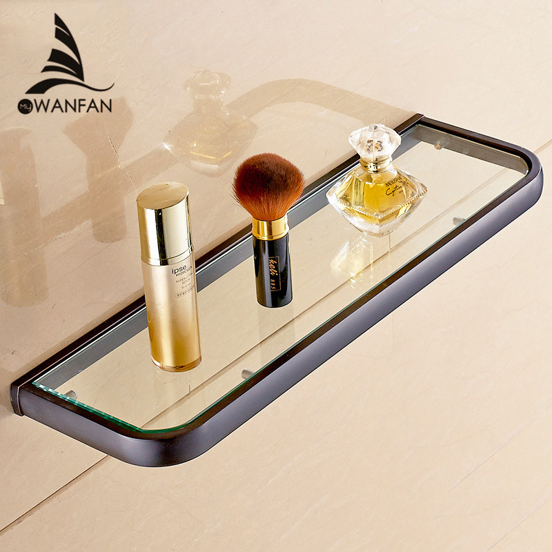 Bathroom Shelves Solid Brass Single Tier Glass Shelf Storage Cosmetics Shelf Wall Mout Bathroom Accessories Glass Holder F81398 1pcs adjustable brush finish metal shelf holder support clamp for bathroom wall glass shelves panel