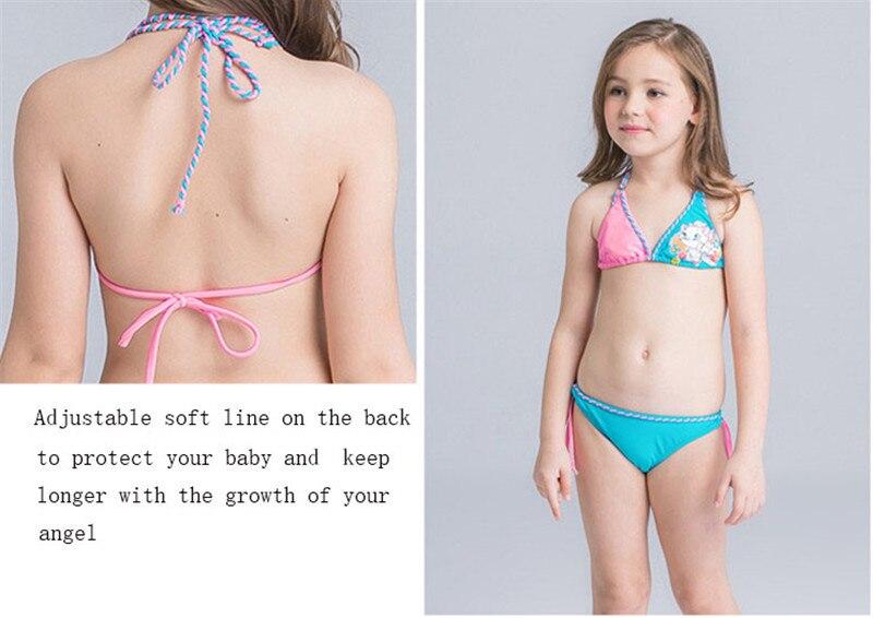 35812b4936ab6 Children swimwear bikini 2017 Solid Character girls Beachwear Bathing suit  girl two piece bathing suit Blue Pink bikini nina-in Children's Two-Piece  Suits ...
