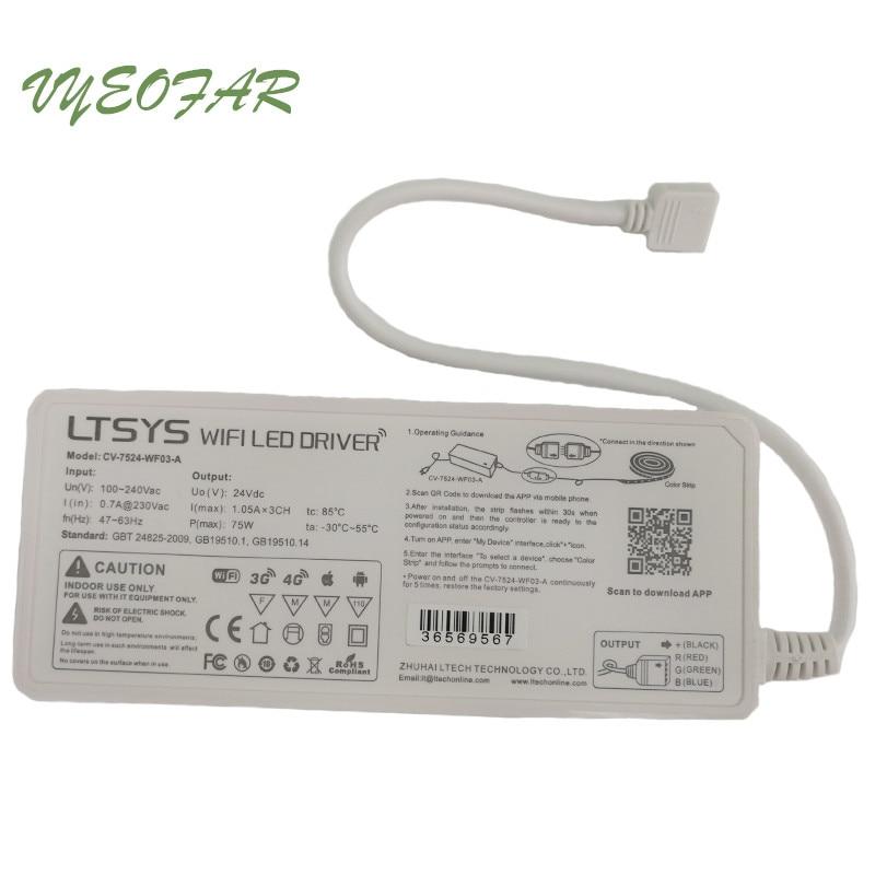 LTECH WIFI alimentation électrique Led DC 24 V Led RGB bande Wifi contrôleur alimentation AC100-240V entrée 75 W sortie; CV-7524-WF03-A