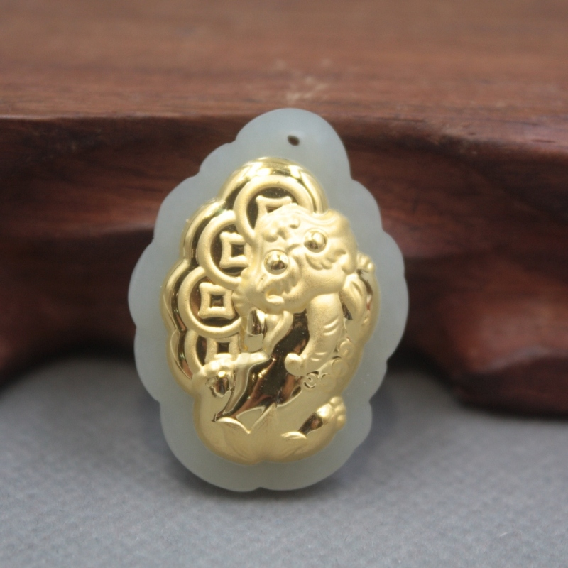 New 24K Yellow Gold Natural Jadeite Jade Women Men Coin Pixiu Bless Pendant 32x24mm