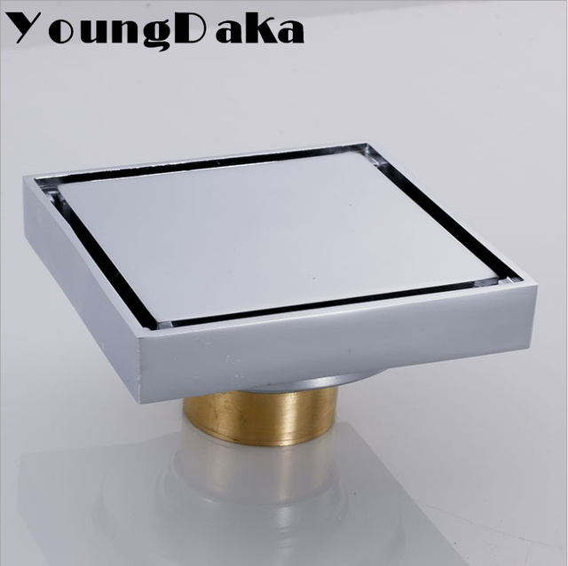 10 X10cm Solid Brass Modern Bathroom Tile Invisible Shower Square Floor  Drain Cover Shower Catcher Hair