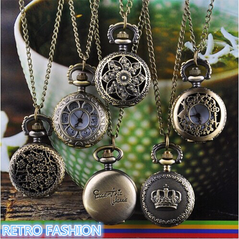 Hot Fashion Watch Vintage Retro Bronze Quartz Pocket Watch Pendant Chain Necklace