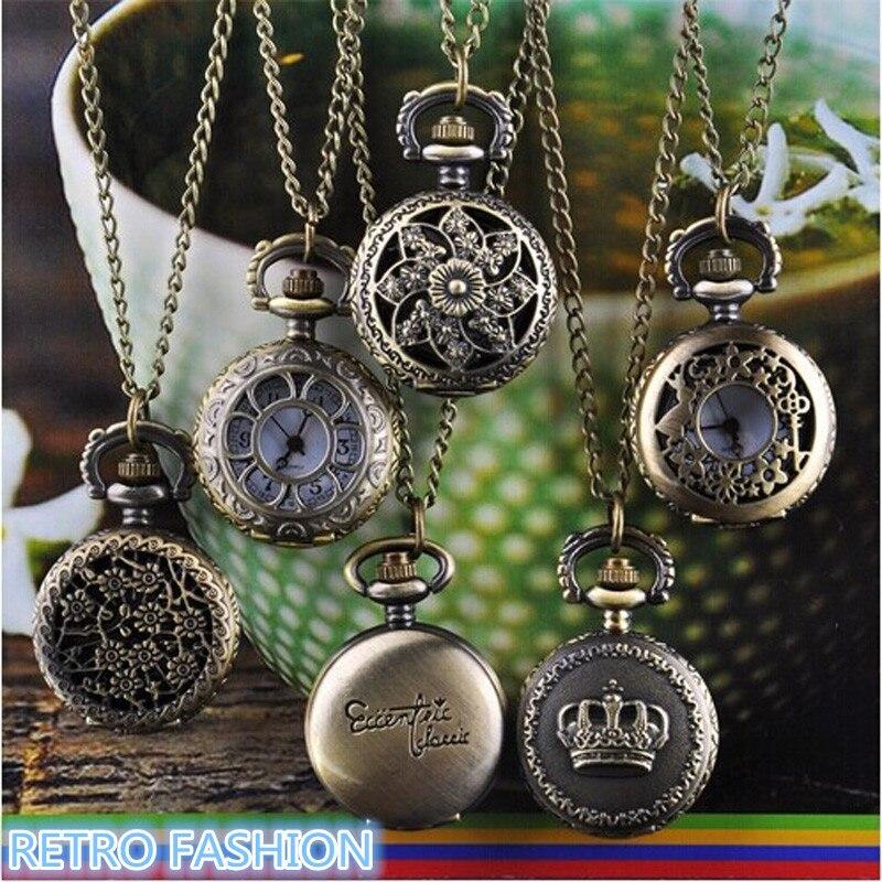 Moda quente relógio vintage retro bronze quartzo bolso relógio pingente corrente colar