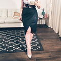 Sexy Women Bodycon Pink Pu Leather Pencil Slim Skirt 2016 Summer Night Club falda midi High Waist  Party Open Fork Vintage Skirt