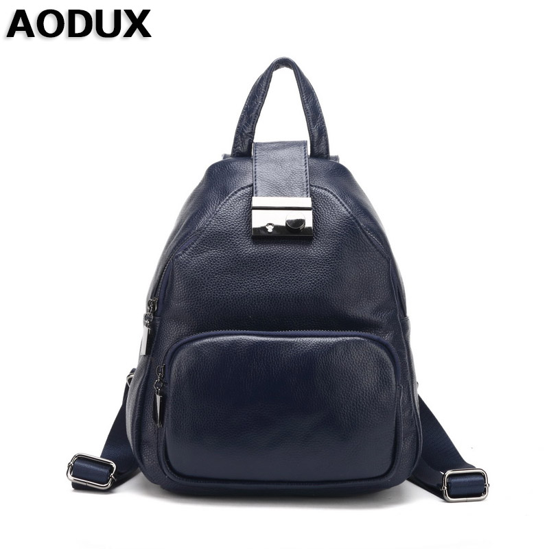 AODUX 2017 Female Teenagers Genuine Leather Real Cowhide Women Backpack Top Layer Cow Leather School Bag Sack Back Pack zency genuine leather backpacks female girls women backpack top layer cowhide school bag gray black pink purple black color