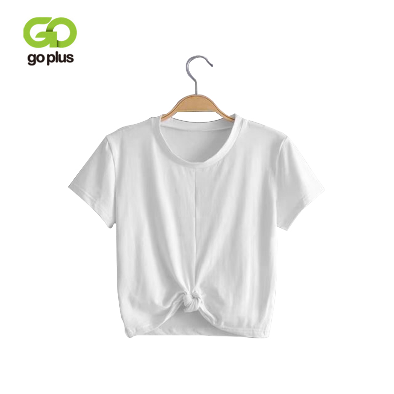 GOPLUS 2018 Summer Tops Sexy Women T-Shirt Tie Front O-Neck Short Sleeve T Shirt Bow Loose Casual Tee Shirt Female Crop Top