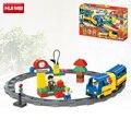 HUIMEI 51 UNIDS Original Pista Tren Eléctrico Conductor de Autobús Escolar Bloque de Ladrillo del Juguete Determinado Del Bebé niño Grande Compatible con Legoe Duplo