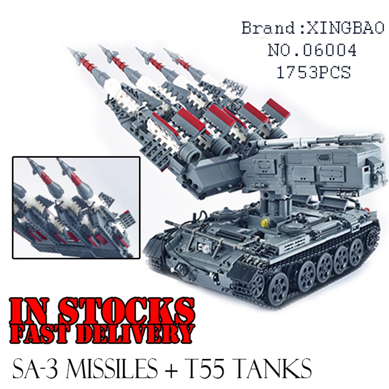 Xingbao 06004 1753Pcs Military weapon Series The SA-3 missile T55 Tank Building Blocks Bricks Educational Toys for ChildrenGifts the new hot promotions 1 30 military vehicles dongfeng 11a missile launch vehicle model alloy office decoration