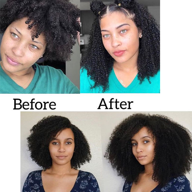 4B 4C Afro Kinky Curly Clip i Mänskliga Hårförlängningar - Mänskligt hår (svart) - Foto 6