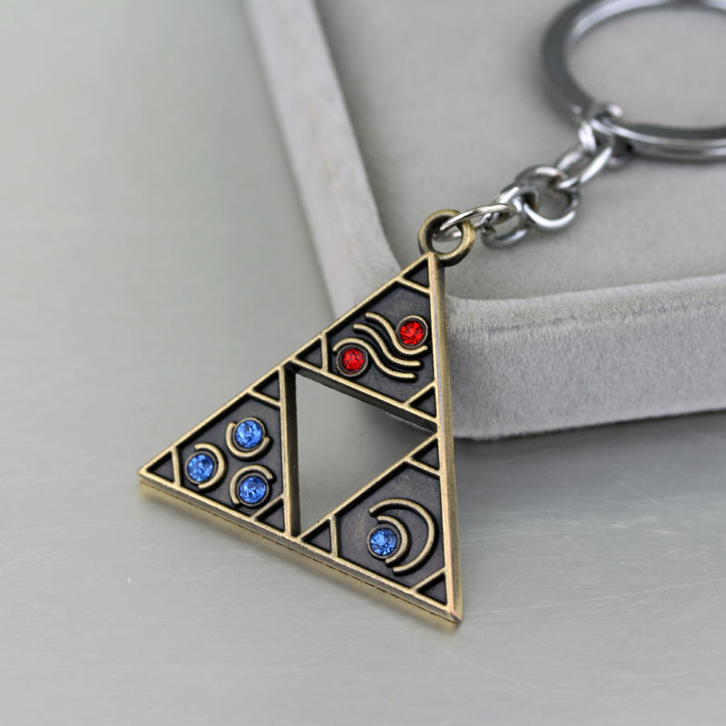 Online game the legend of zelda triangle red and blue crystal keychain for fans