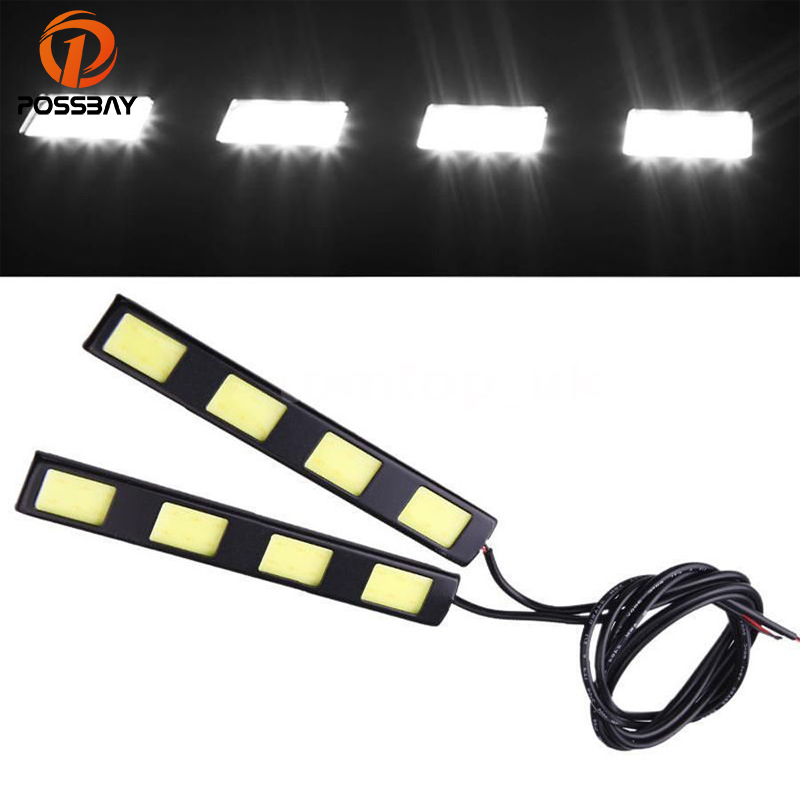 POSSBAY Car COB 4-LED Daytime Running Driving Light DRL Fog Waterproof Lamp White Light Lamp Bulbs for VW POLO PASSAT B5 B6 GOLF
