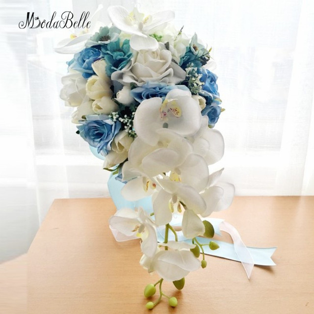 Blue Wedding Bouquets Beach Waterfall Artificial Brides Bridal Flowers Brooch Bouquet Mariage