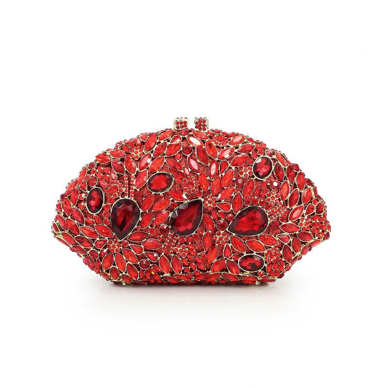 red evening bags crown party clutch purse crystal bag stylish day clutches prom ladies handbags wedding purses  (8783A-R)