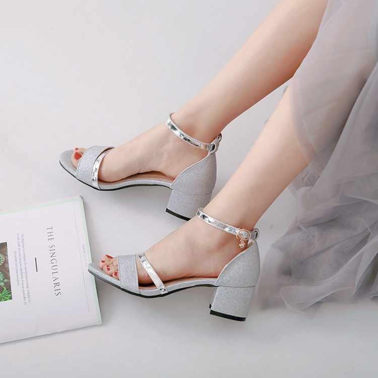 Große Größe 1 high heels sandalen frauen schuhe frau sommer damen One-wort schnalle sandalen