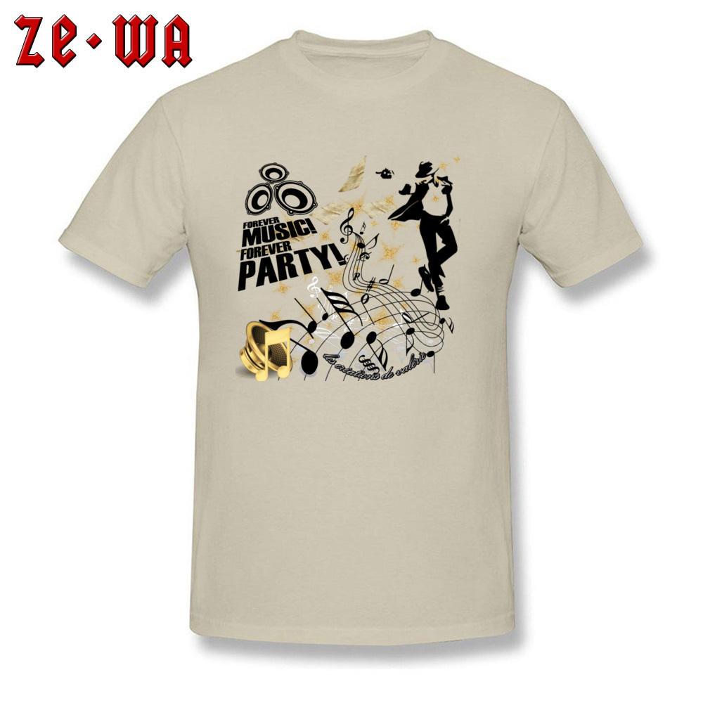 New Arrival Forever Music Party Printed Top T-shirts Round Collar 100% Cotton Men Tops Shirt Short Sleeve T Shirts ostern Day Forever Music Party beige