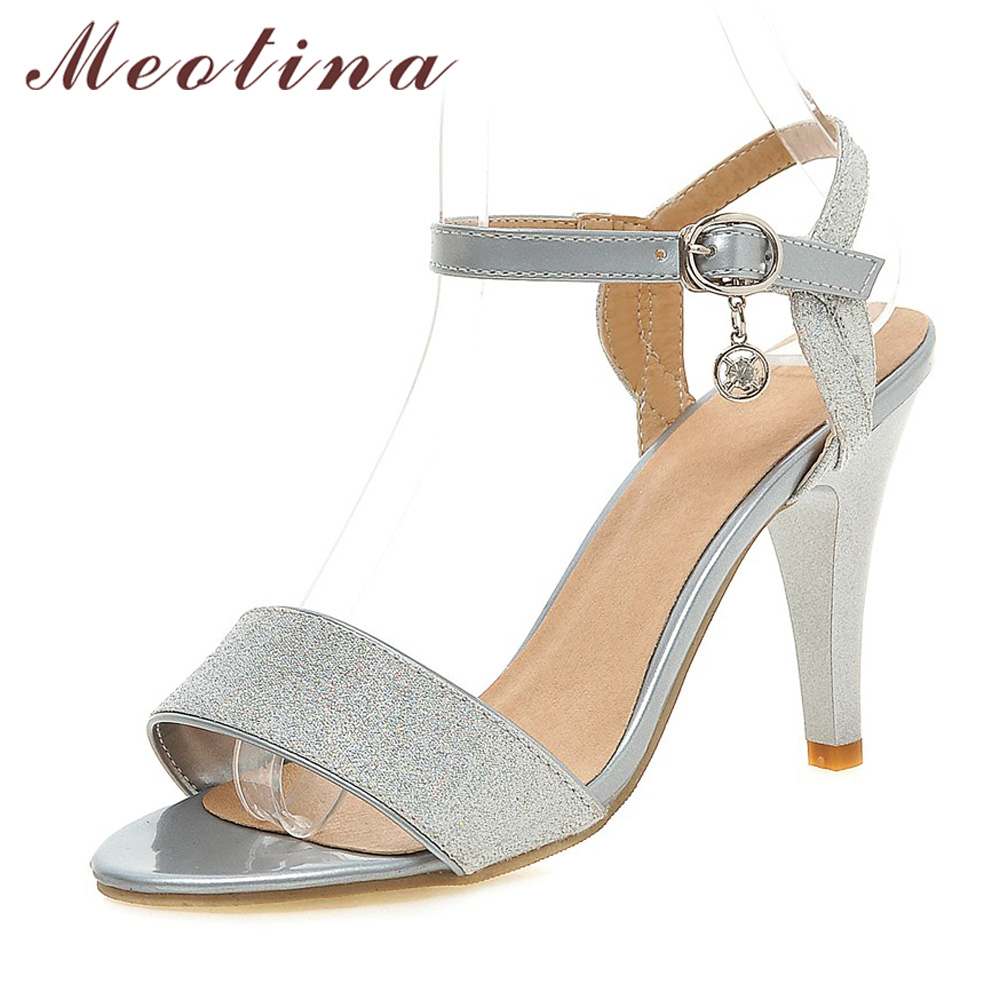Women's sandals with bling - Meotina Women Sandals Summer High Heel Sandals Large Size 34 43 Sliver Bridal Wedding Shoes Bling Ladies Party Heels Sandal Gold
