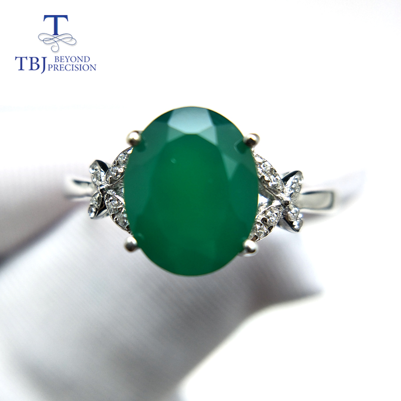 charming simple style wintersweet cuff ring for women TBJ,Classic natural green agate gemstone Ring in 925 sterling silver simple elegant charming jewelry for women girls daily wear