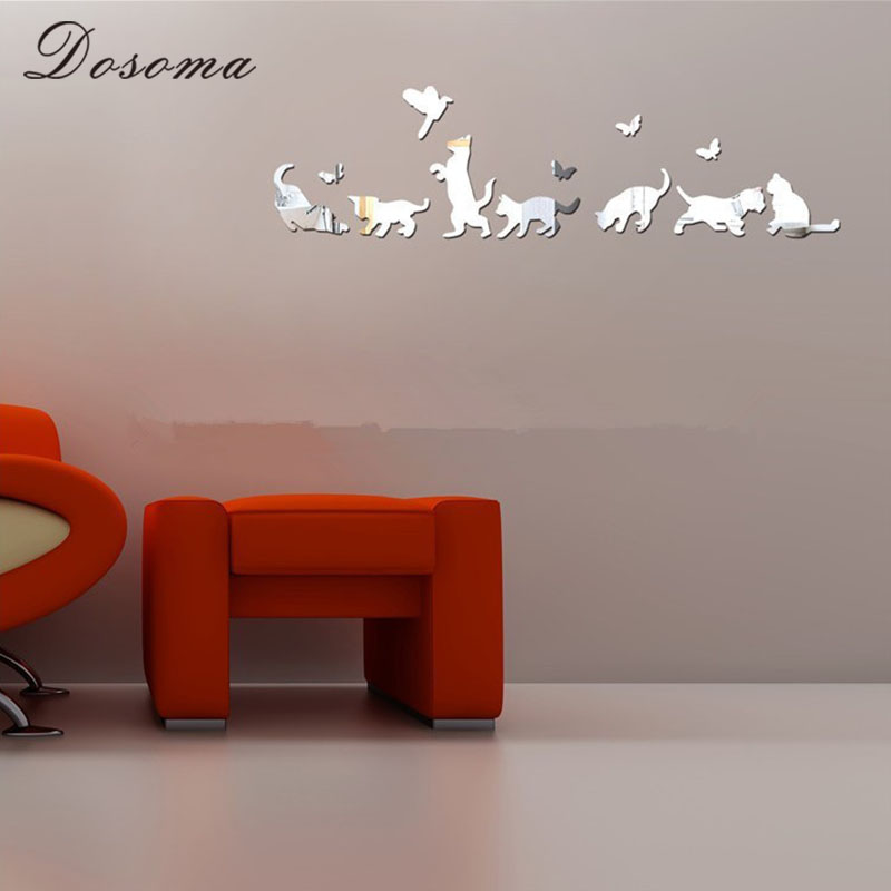 New Arrival Cat Mirror Wall Sticker And Butterflies Acrylic Stickers