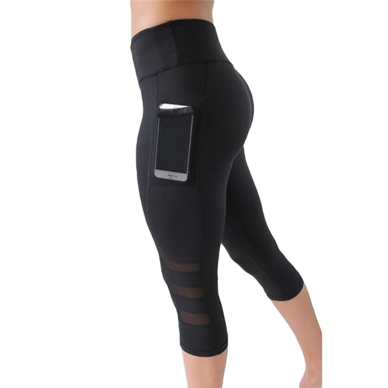 High waist Elastic women Mesh Legging pants Black sexy Fitness sporting Capri Pants with pocket Cropped trousers legging
