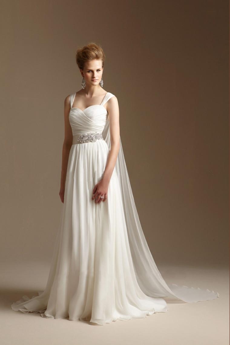 Grecian Style Wedding Dress with Watteau Train Long ...