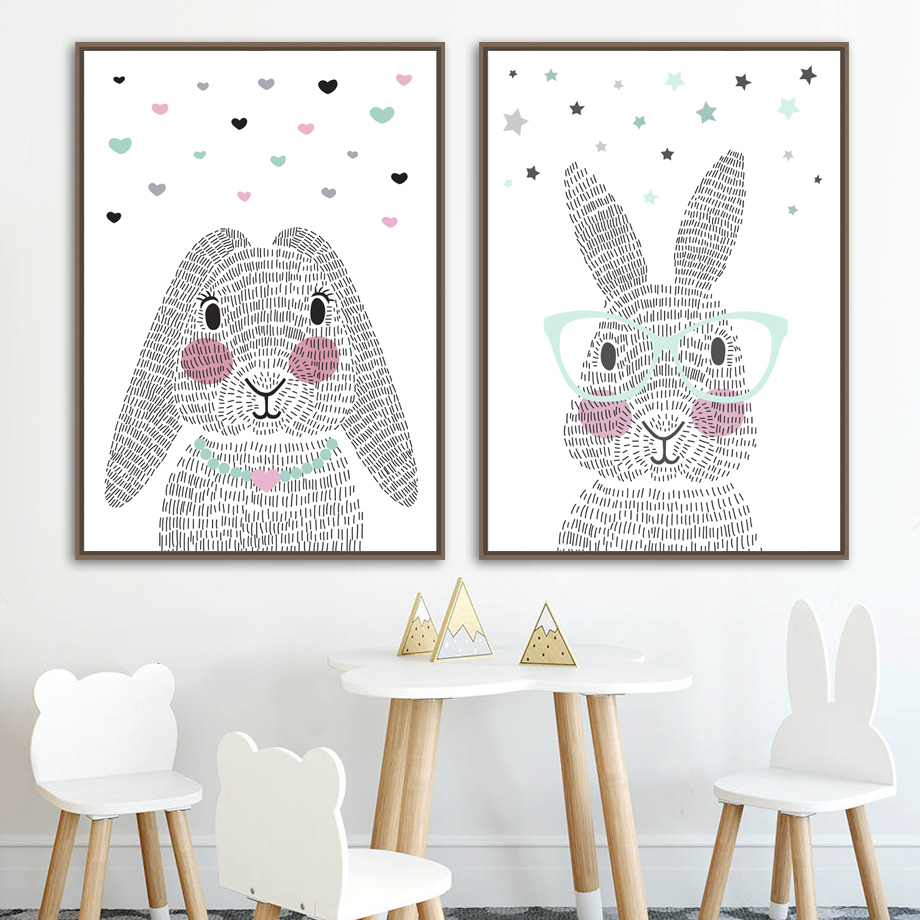 Nursery Prints Girl Us 3 37 43 Off Cartoon Rabbit Nordic Posters And Prints Wall Art Canvas Painting Bunny Nursery Art Prints Wall Picture Baby Girl Boy Room Decor In
