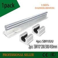 10mm Linear Rail 2pcs SBR10* 200/300/450mm +4pcs SBR10UU Linear Guide Linear Motion Ball Bearing Blocks For CNC Linear Shaft